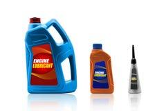 Bottiglie di plastica dall'olio dell'automobile Fotografie Stock