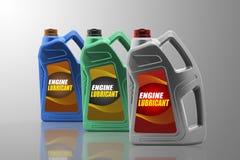 Bottiglie di plastica dall'olio dell'automobile Fotografia Stock