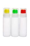Bottiglie di plastica di colla liquida immagine stock