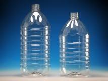 Bottiglie di plastica trasparenti Immagini Stock
