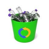 Bottiglie di plastica in un recipiente di riciclaggio Fotografia Stock Libera da Diritti