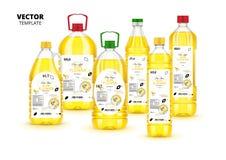 Bottiglie di plastica vergini extra dell'olio di girasole messe royalty illustrazione gratis