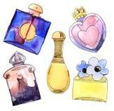 Bottiglie di profumo impostate. Fotografia Stock
