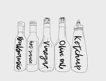 Bottiglie di salsa, vettore di schizzo illustrazione vettoriale