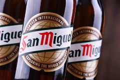 Bottiglie di San Miguel Beer fotografia stock