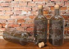 Bottiglie di vetro d'annata Immagini Stock Libere da Diritti