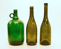 Bottiglie di vetro delle forme differenti Fotografie Stock