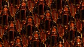 Bottiglie di vetro di birra su fondo scuro illustrazione 3D Immagine Stock Libera da Diritti
