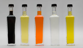 Bottiglie di vetro di olio Immagine Stock