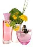 Bottiglie di vetro di profumo isolate su bianco Fotografie Stock Libere da Diritti
