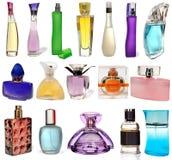 Bottiglie di vetro differenti stabilite di profumo isolate sopra Fotografia Stock Libera da Diritti