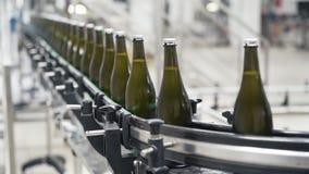 Bottiglie di vetro sulla linea automatica del trasportatore alla fabbrica del vino o del champagne Pianta per l'imbottigliamento  archivi video