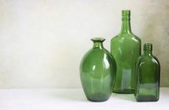 Bottiglie di vetro verdi Fotografie Stock