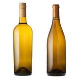 Bottiglie di vino bianco su bianco Immagini Stock Libere da Diritti