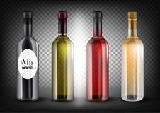 Bottiglie di vino differenti di colori messe Il nero, trasparente - bottiglie rosa e bianche di verde, di rossi carmini, Immagini Stock Libere da Diritti