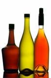 Bottiglie di vino e del liquore fotografie stock