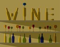 Bottiglie di vino e di vetri Fotografia Stock
