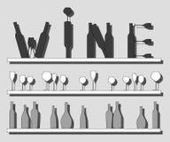 Bottiglie di vino e di vetri Fotografia Stock Libera da Diritti