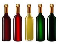 Bottiglie di vino isolate su bianco Immagini Stock Libere da Diritti