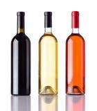Bottiglie di vino isolate su fondo bianco Fotografie Stock Libere da Diritti