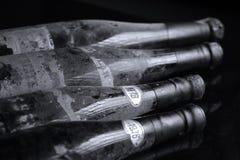 Bottiglie di vino di Murfatlar molto vecchie, isolato Fotografie Stock