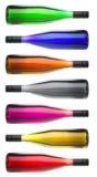 Bottiglie di vino variopinte sopra Fotografie Stock