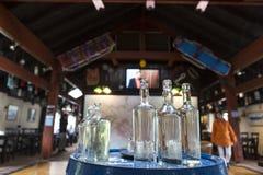 Bottiglie di whiskey vuote Fotografia Stock