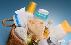 Bottiglie e tovaglioli delle estetiche Fotografia Stock