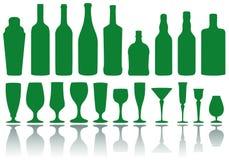 Bottiglie e vetri,   illustrazione vettoriale
