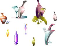 Bottiglie e vetri Fotografia Stock Libera da Diritti