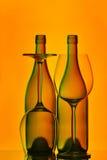 Bottiglie e vetri di vino Immagini Stock