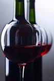 Bottiglie e vetri di vino rosso Immagine Stock Libera da Diritti