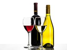 Bottiglie e vetri di vino rosso e bianco Fotografie Stock
