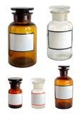 Bottiglie farmaceutiche messe. Fotografia Stock
