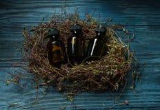 Bottiglie mediche su fondo di legno d'annata Fotografia Stock Libera da Diritti