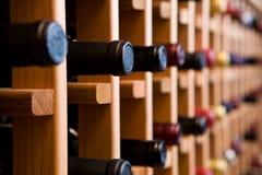 Bottiglie nella cantina per vini Fotografia Stock Libera da Diritti