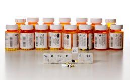 Bottiglie orizzontali della droga Fotografie Stock Libere da Diritti