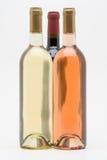 Bottiglie rosse del vino bianco e rosè Fotografia Stock Libera da Diritti