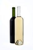 Bottiglie rosse e bianche di vino fotografia stock
