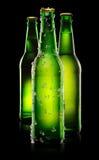 Bottiglie verdi di birra Fotografia Stock