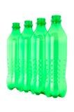 Bottiglie verdi di plastica utilizzate Fotografie Stock