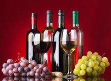 Bottiglie, vetri ed uva Fotografie Stock Libere da Diritti