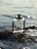 Bottle. Glass bottle in the sea waves Royalty Free Stock Photos