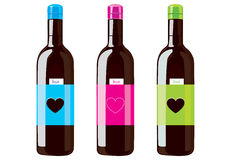 Bottle. Design vector illustration of three bottles of different colors Stock Photography