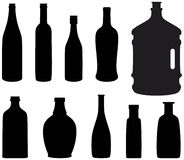 Bottle. Wine bottle silhouettes, vector background Royalty Free Stock Photography