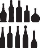 Bottle. Set of bottle black silhouette Royalty Free Stock Photo