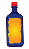 Bottle. Vector illustration of a blue bottle with yellow label isolated on white background stock illustration