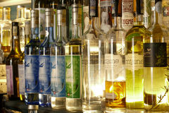 Bottle of absinth. Prague, Czech Republic - June 02, 2017 - colorful bottles of absinthe in bar on old town of prague Royalty Free Stock Image