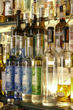 Bottle of absinth. Prague, Czech Republic - June 02, 2017 - colorful bottles of absinthe in bar on old town of prague Royalty Free Stock Photos
