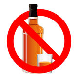 Bottle of alcohol drink and stemware in no allowed sign Stock Images